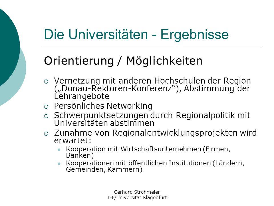Gerhard Strohmeier IFF/Universität Klagenfurt Die Universitäten - Ergebnisse Orientierung / Möglichkeiten Vernetzung mit anderen Hochschulen der Regio