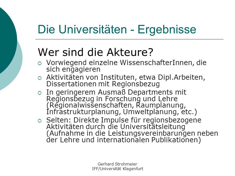 Gerhard Strohmeier IFF/Universität Klagenfurt Die Universitäten - Ergebnisse Wer sind die Akteure? Vorwiegend einzelne WissenschafterInnen, die sich e