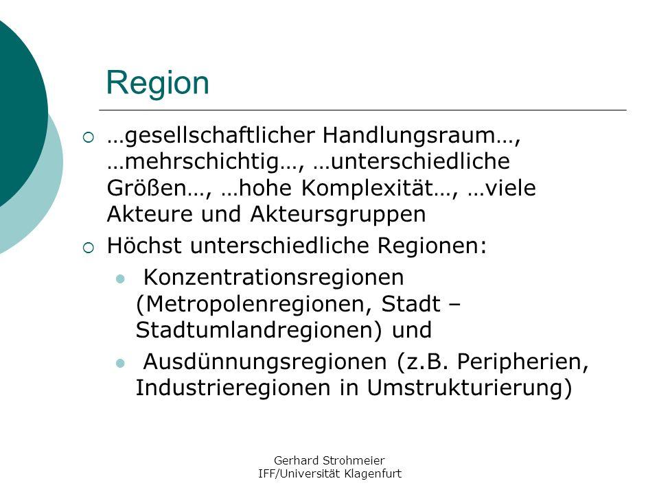 Gerhard Strohmeier IFF/Universität Klagenfurt Region …gesellschaftlicher Handlungsraum…, …mehrschichtig…, …unterschiedliche Größen…, …hohe Komplexität
