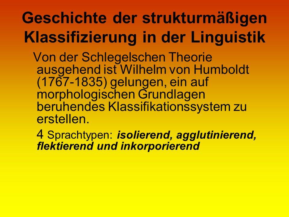 Geschichte der strukturmäßigen Klassifizierung in der Linguistik Von der Schlegelschen Theorie ausgehend ist Wilhelm von Humboldt (1767-1835) gelungen