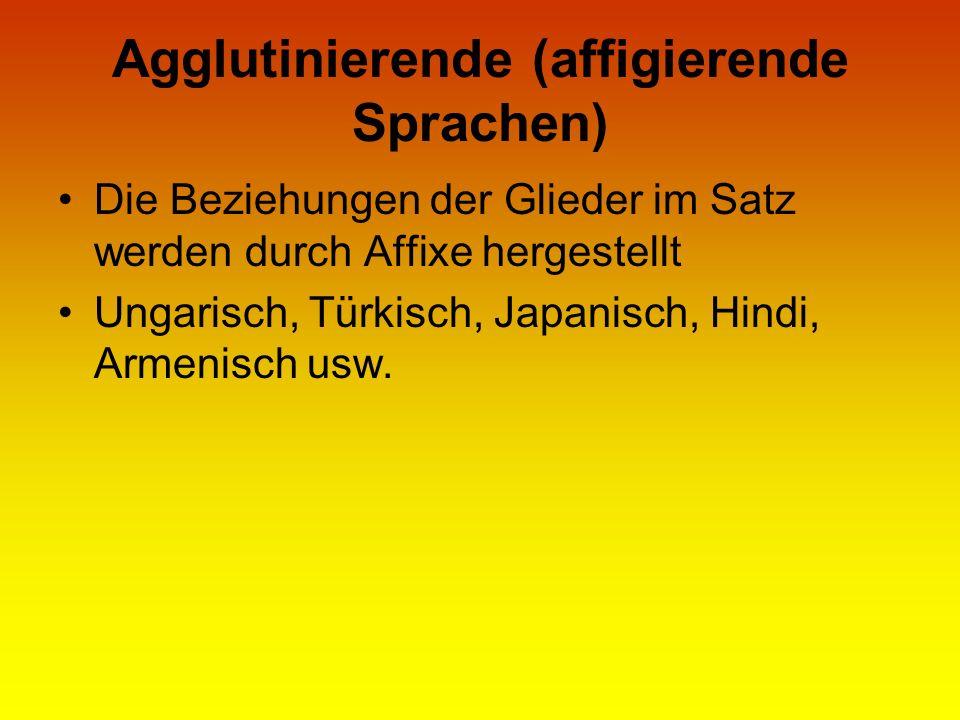 Agglutinierende (affigierende Sprachen) Die Beziehungen der Glieder im Satz werden durch Affixe hergestellt Ungarisch, Türkisch, Japanisch, Hindi, Arm
