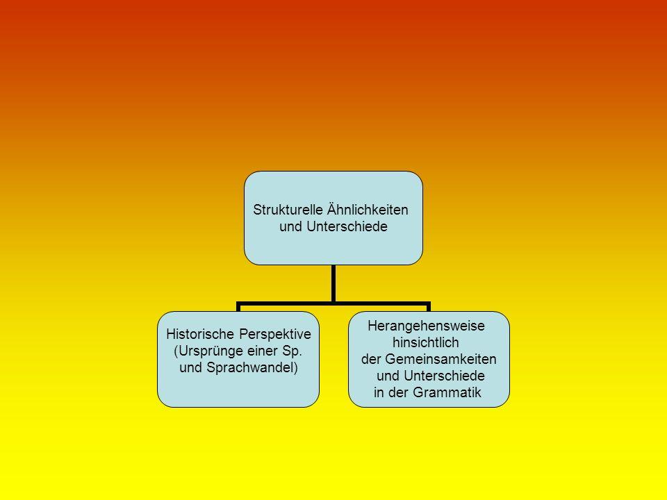 Strukturelle Ähnlichkeiten und Unterschiede Historische Perspektive (Ursprünge einer Sp. und Sprachwandel) Herangehensweise hinsichtlich der Gemeinsam