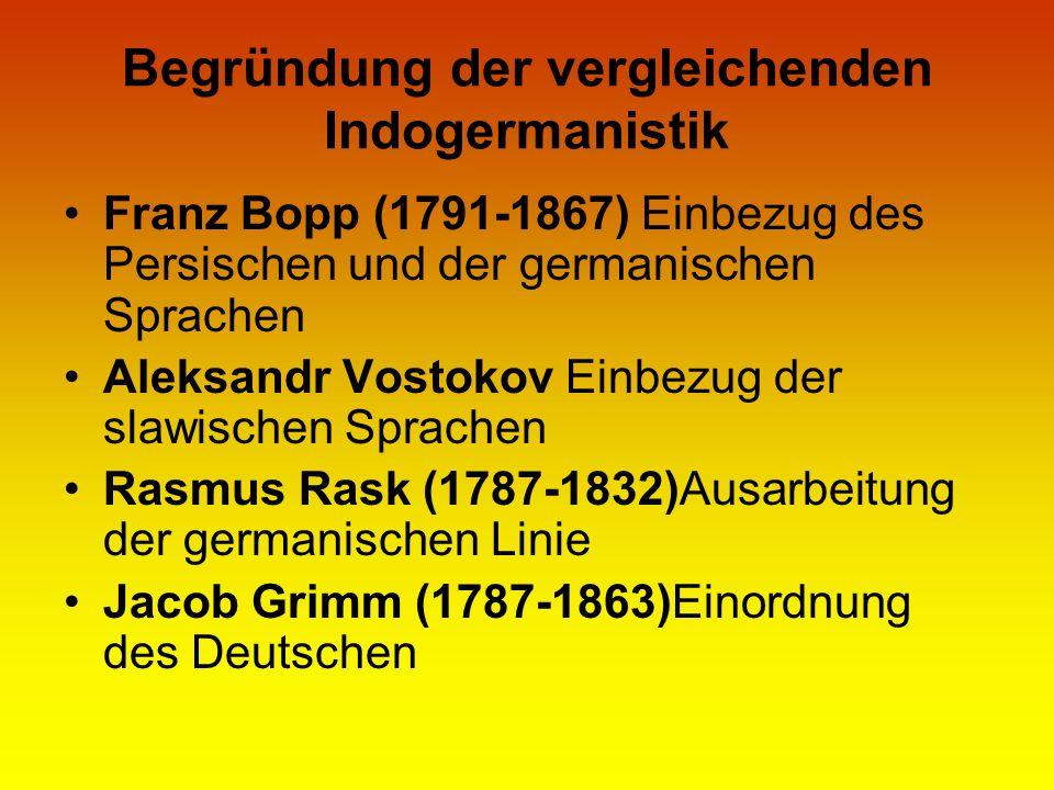 Begründung der vergleichenden Indogermanistik Franz Bopp (1791-1867) Einbezug des Persischen und der germanischen Sprachen Aleksandr Vostokov Einbezug