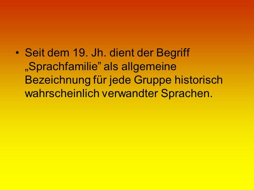 Seit dem 19. Jh. dient der Begriff Sprachfamilie als allgemeine Bezeichnung für jede Gruppe historisch wahrscheinlich verwandter Sprachen.