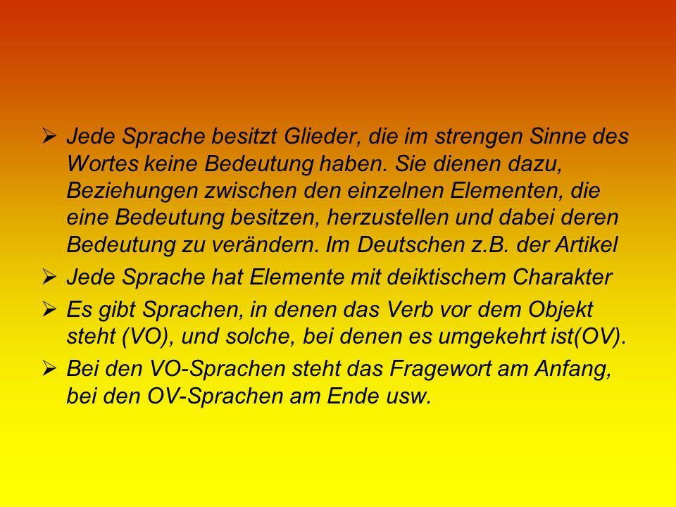 Deutsch Die Sprachen der Welt sind typologisch zusammengesetzt: Das Deutsche ist im wesentlichen flektierend, aber auch agglutinierend und teilweise inkorporierend.