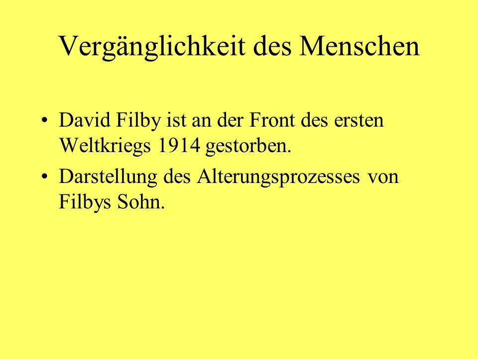 Vergänglichkeit des Menschen David Filby ist an der Front des ersten Weltkriegs 1914 gestorben. Darstellung des Alterungsprozesses von Filbys Sohn.
