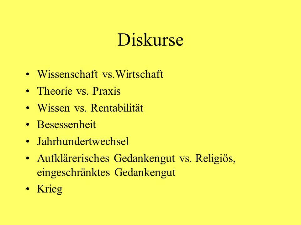 Diskurse Wissenschaft vs.Wirtschaft Theorie vs. Praxis Wissen vs. Rentabilität Besessenheit Jahrhundertwechsel Aufklärerisches Gedankengut vs. Religiö