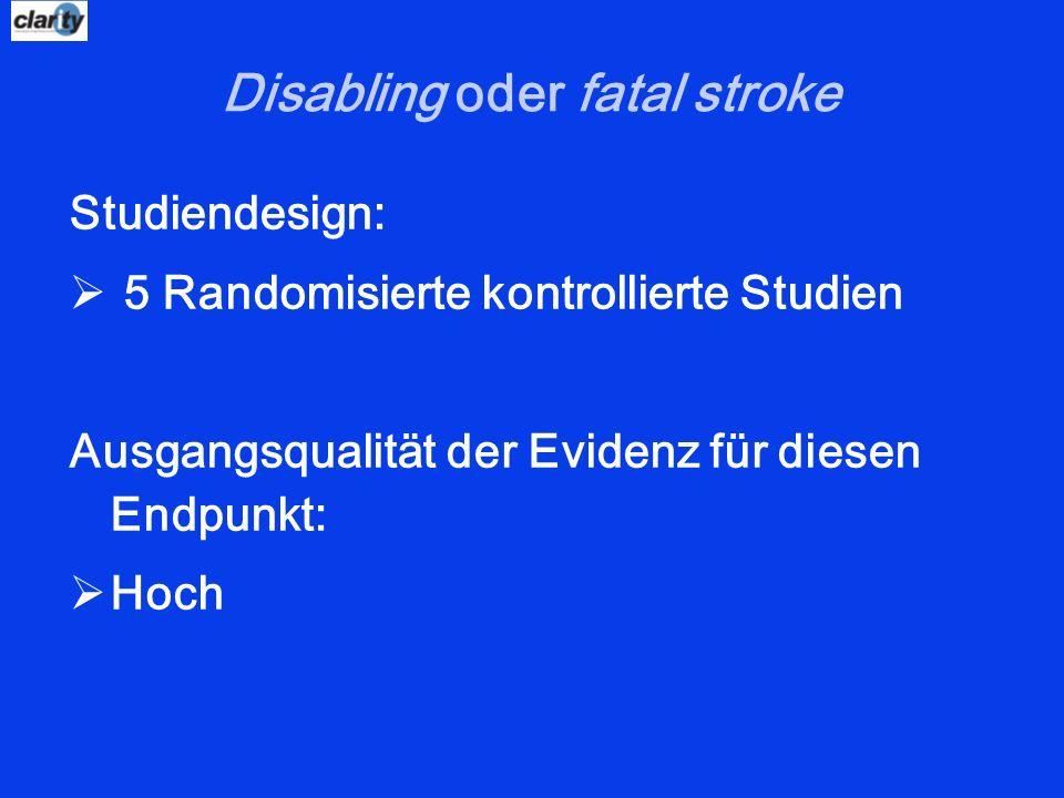Disabling oder fatal stroke Studiendesign: 5 Randomisierte kontrollierte Studien Ausgangsqualität der Evidenz für diesen Endpunkt: Hoch