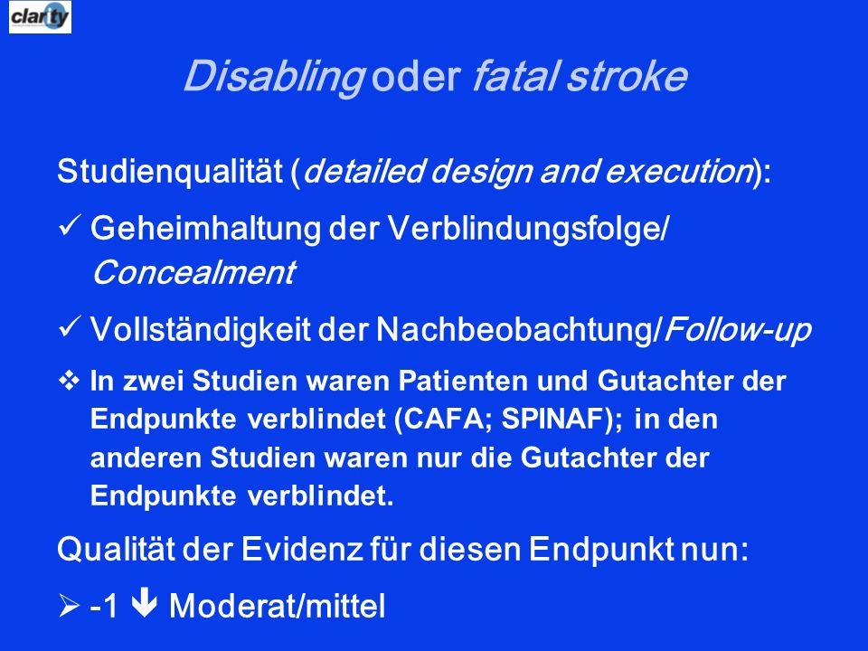Disabling oder fatal stroke Studienqualität (detailed design and execution): Geheimhaltung der Verblindungsfolge/ Concealment Vollständigkeit der Nach