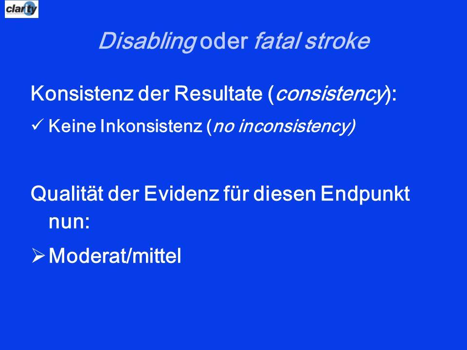 Disabling oder fatal stroke Konsistenz der Resultate (consistency): Keine Inkonsistenz (no inconsistency) Qualität der Evidenz für diesen Endpunkt nun