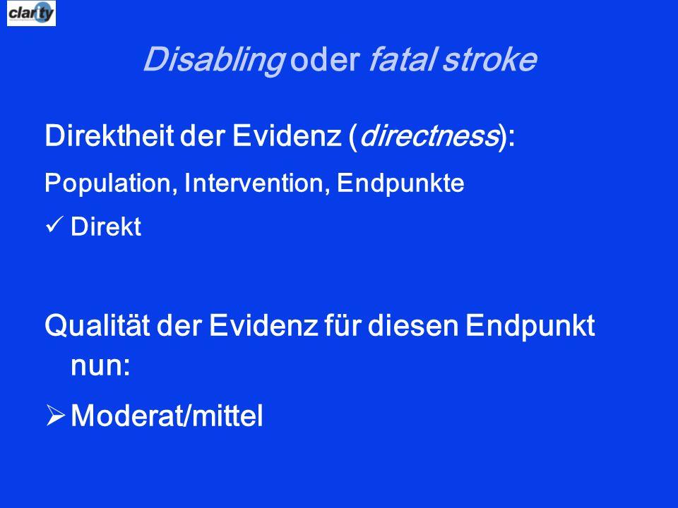 Disabling oder fatal stroke Direktheit der Evidenz (directness): Population, Intervention, Endpunkte Direkt Qualität der Evidenz für diesen Endpunkt n