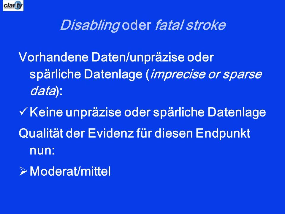 Disabling oder fatal stroke Vorhandene Daten/unpräzise oder spärliche Datenlage (imprecise or sparse data): Keine unpräzise oder spärliche Datenlage Q