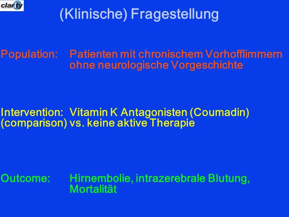 (Klinische) Fragestellung Population: Patienten mit chronischem Vorhofflimmern ohne neurologische Vorgeschichte Intervention: Vitamin K Antagonisten (