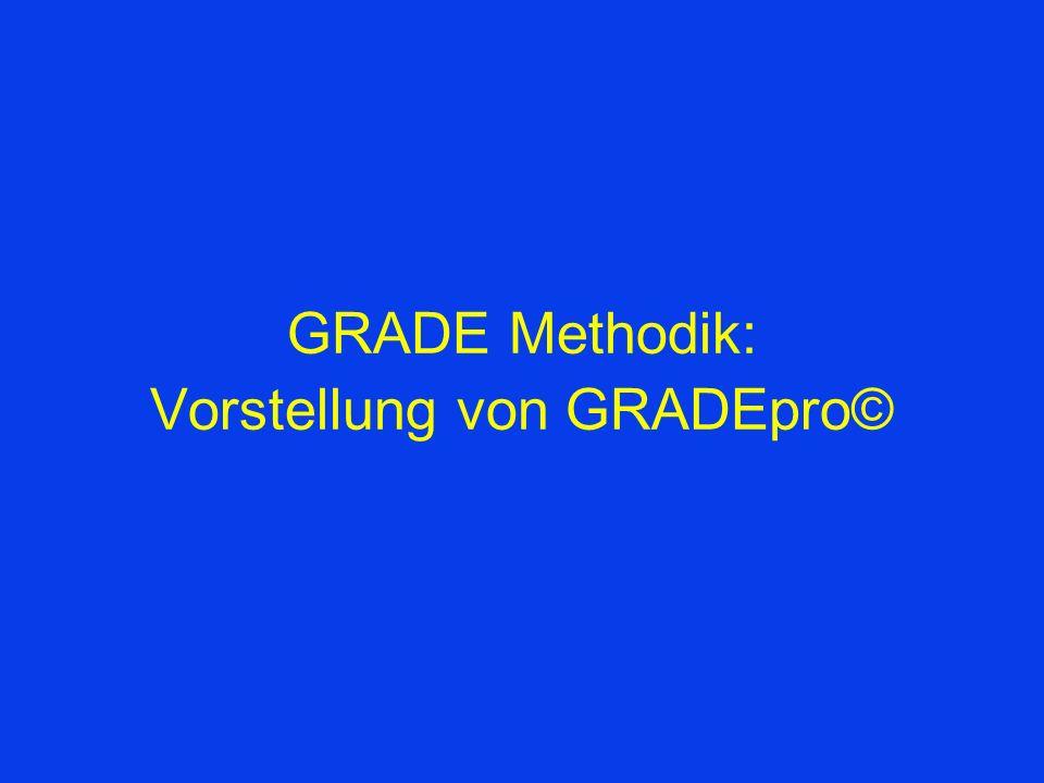GRADE Methodik: Vorstellung von GRADEpro©