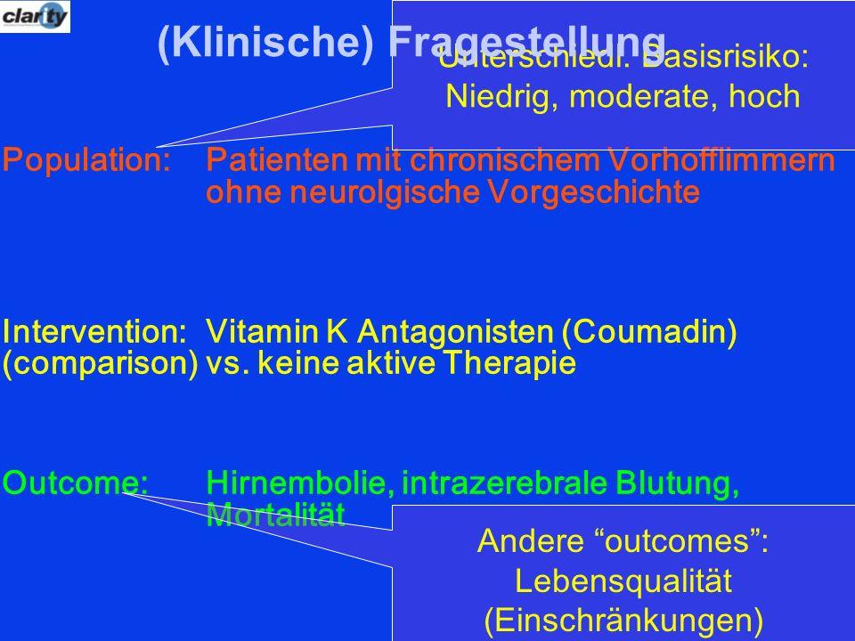 Population: Patienten mit chronischem Vorhofflimmern ohne neurolgische Vorgeschichte Intervention: Vitamin K Antagonisten (Coumadin) (comparison)vs. k