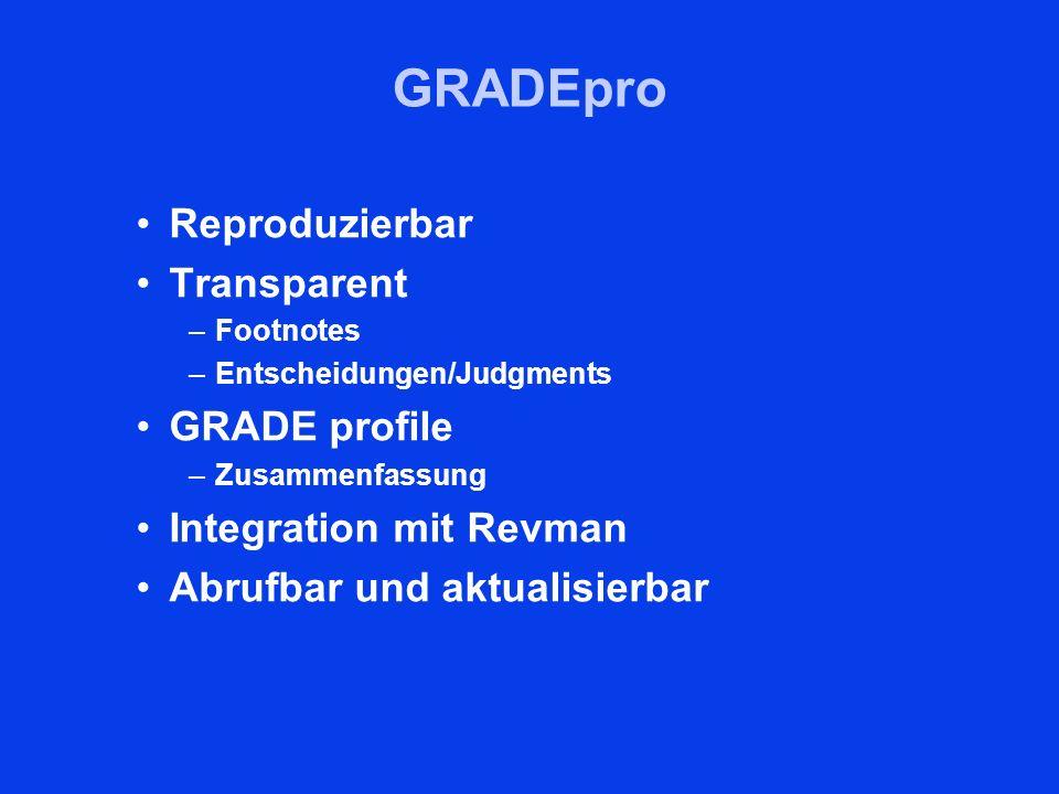 GRADEpro Reproduzierbar Transparent –Footnotes –Entscheidungen/Judgments GRADE profile –Zusammenfassung Integration mit Revman Abrufbar und aktualisie