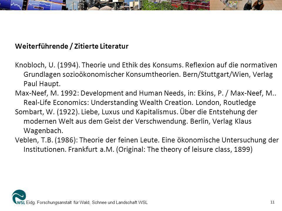 Weiterführende / Zitierte Literatur Knobloch, U. (1994). Theorie und Ethik des Konsums. Reflexion auf die normativen Grundlagen sozioökonomischer Kons