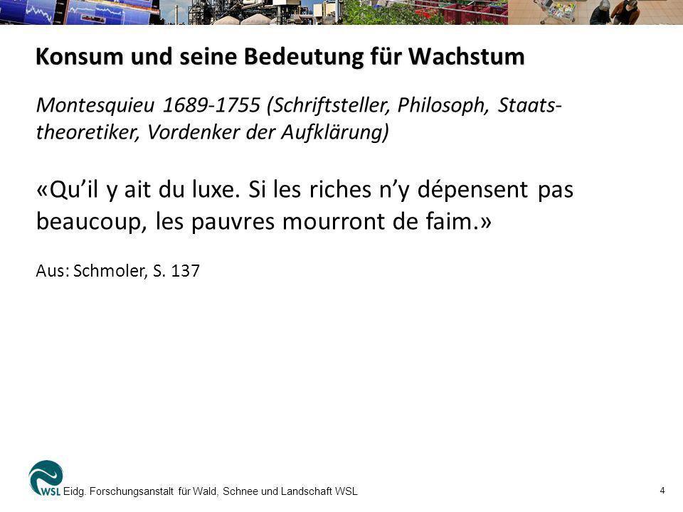 Konsum und seine Bedeutung für Wachstum Eidg. Forschungsanstalt für Wald, Schnee und Landschaft WSL 4 Montesquieu 1689-1755 (Schriftsteller, Philosoph