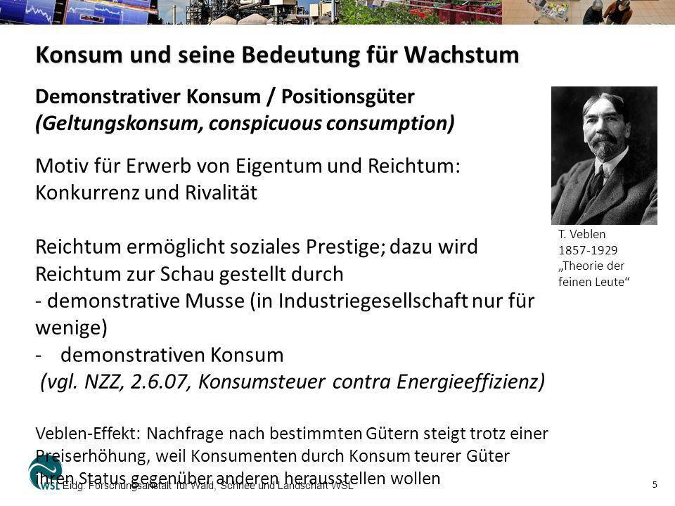 Konsum und seine Bedeutung für Wachstum Eidg. Forschungsanstalt für Wald, Schnee und Landschaft WSL 5 Motiv für Erwerb von Eigentum und Reichtum: Konk