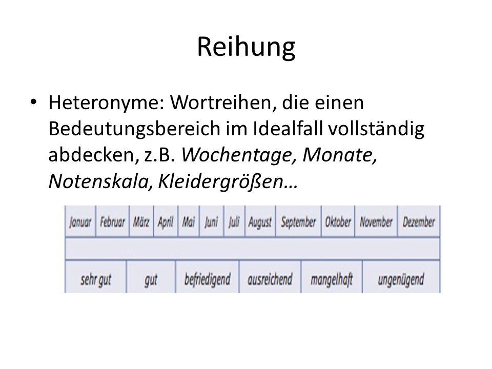 Reihung Heteronyme: Wortreihen, die einen Bedeutungsbereich im Idealfall vollständig abdecken, z.B.