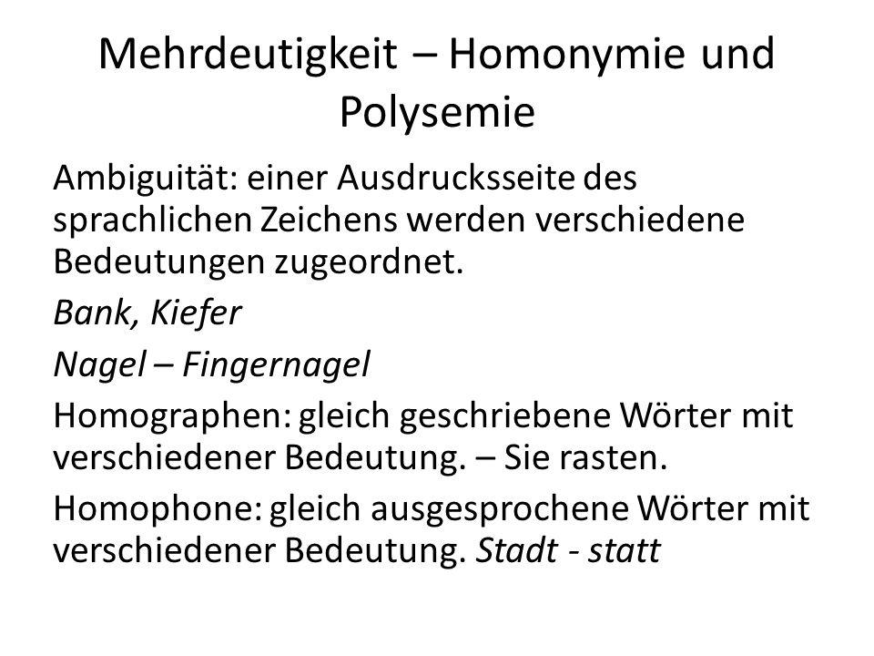 Mehrdeutigkeit – Homonymie und Polysemie Ambiguität: einer Ausdrucksseite des sprachlichen Zeichens werden verschiedene Bedeutungen zugeordnet.