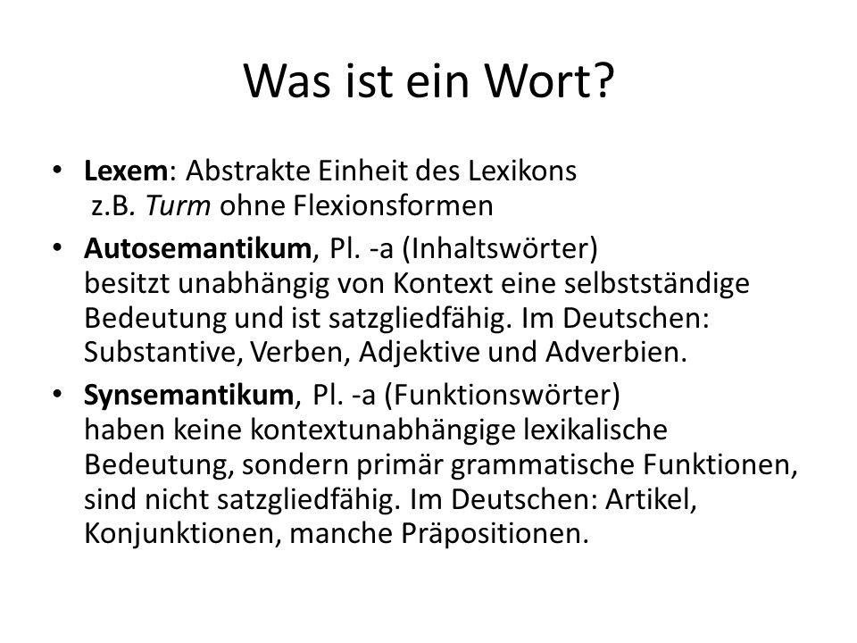 Was ist ein Wort.Lexem: Abstrakte Einheit des Lexikons z.B.