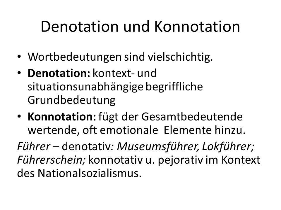 Denotation und Konnotation Wortbedeutungen sind vielschichtig.