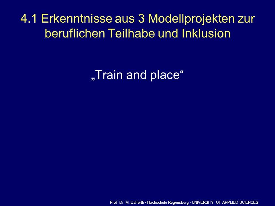 4.1 Erkenntnisse aus 3 Modellprojekten zur beruflichen Teilhabe und Inklusion Train and place Prof. Dr. M. Dalferth Hochschule Regensburg · UNIVERSITY