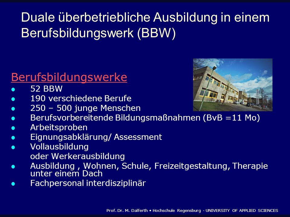 Duale überbetriebliche Ausbildung in einem Berufsbildungswerk (BBW) Berufsbildungswerke 52 BBW 190 verschiedene Berufe 250 – 500 junge Menschen Berufs