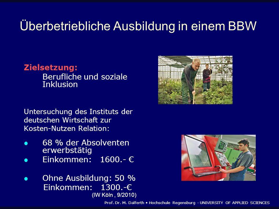 Überbetriebliche Ausbildung in einem BBW Zielsetzung: Berufliche und soziale Inklusion Untersuchung des Instituts der deutschen Wirtschaft zur Kosten-