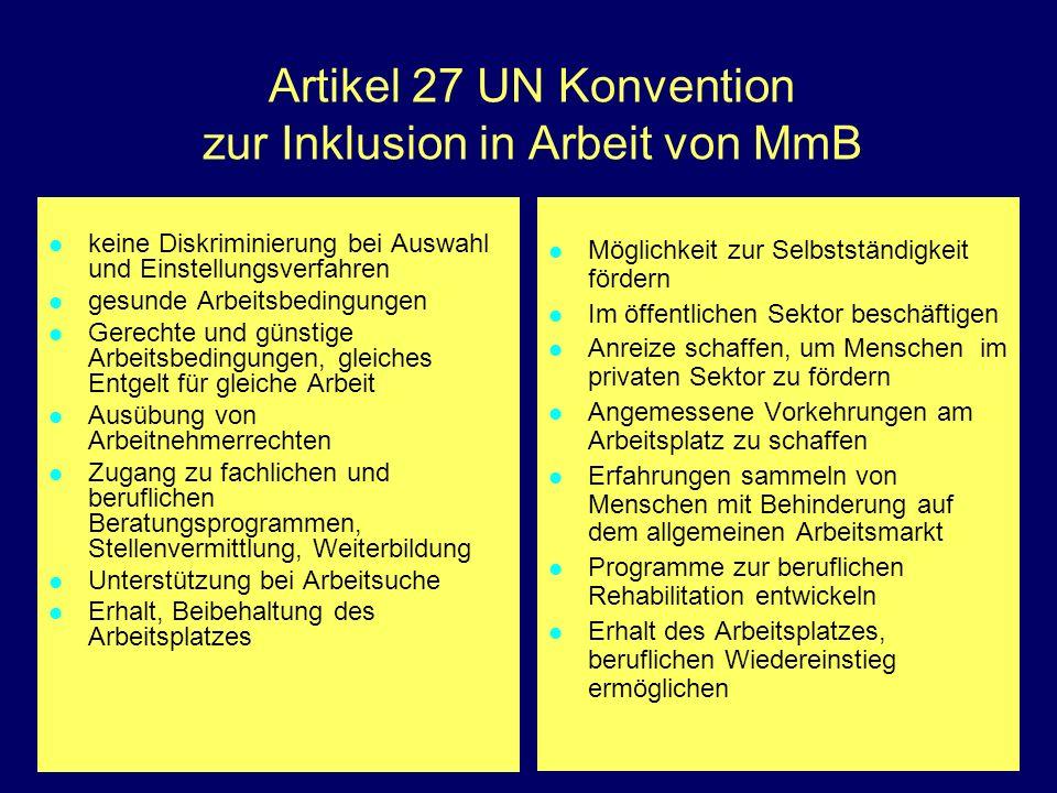 Artikel 27 UN Konvention zur Inklusion in Arbeit von MmB keine Diskriminierung bei Auswahl und Einstellungsverfahren gesunde Arbeitsbedingungen Gerech