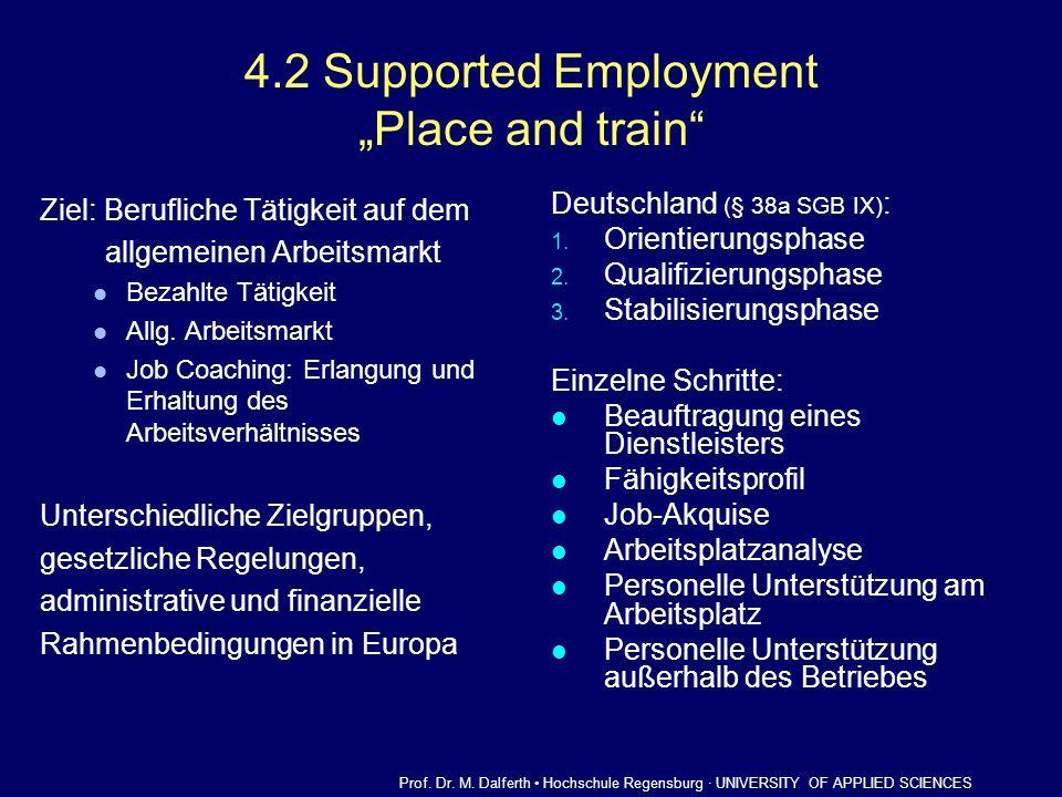 4.2 Supported Employment Place and train Ziel: Berufliche Tätigkeit auf dem allgemeinen Arbeitsmarkt Bezahlte Tätigkeit Allg. Arbeitsmarkt Job Coachin