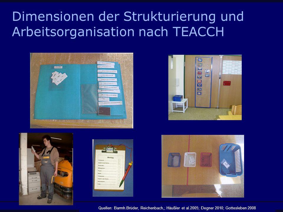 Dimensionen der Strukturierung und Arbeitsorganisation nach TEACCH Quellen: Barmh.Brüder, Reichenbach,; Häußler et al.2005; Degner 2010; Gottesleben 2