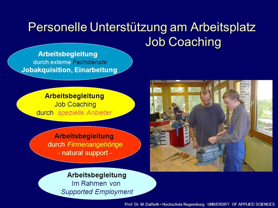Personelle Unterstützung am Arbeitsplatz Job Coaching Arbeitsbegleitung durch externe Fachdienste Jobakquisition, Einarbeitung Arbeitsbegleitung durch