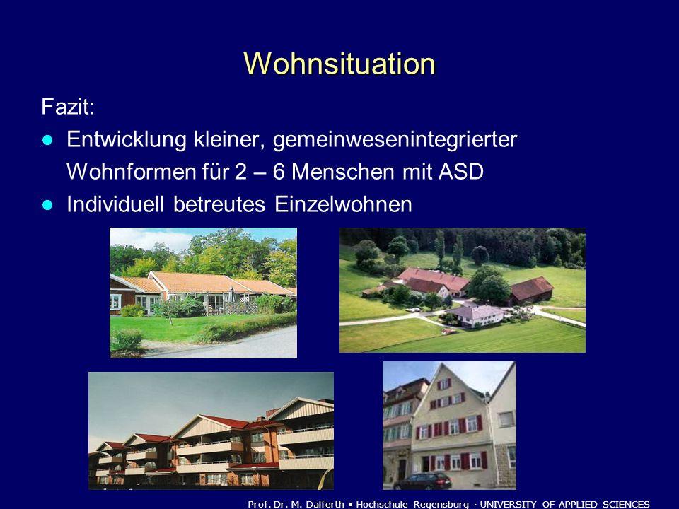 Wohnsituation Fazit: Entwicklung kleiner, gemeinwesenintegrierter Wohnformen für 2 – 6 Menschen mit ASD Individuell betreutes Einzelwohnen Prof. Dr. M