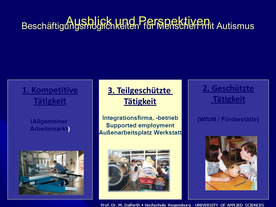 Beschäftigungsmöglichkeiten für Menschen mit Autismus 1. Kompetitive Tätigkeit (Allgemeiner Arbeitsmarkt) 2. Geschützte Tätigkeit (WfbM / Förderstätte