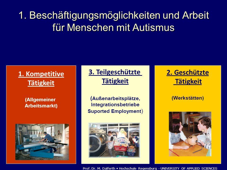 1. Beschäftigungsmöglichkeiten und Arbeit für Menschen mit Autismus 1. Kompetitive Tätigkeit (Allgemeiner Arbeitsmarkt) 2. Geschützte Tätigkeit (Werks