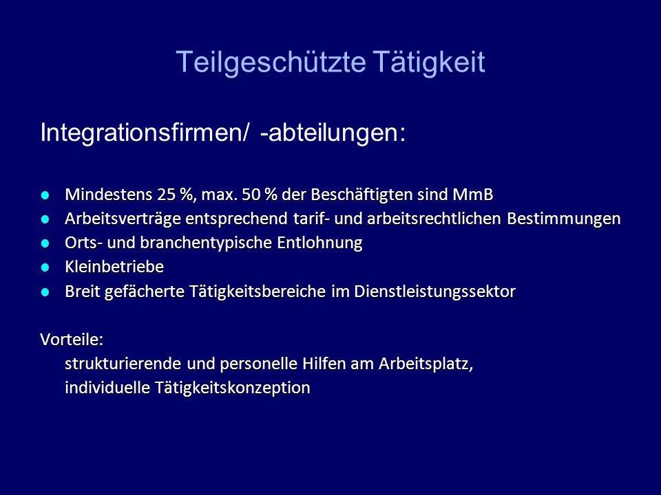 Teilgeschützte Tätigkeit Integrationsfirmen/ -abteilungen: Mindestens 25 %, max. 50 % der Beschäftigten sind MmB Mindestens 25 %, max. 50 % der Beschä