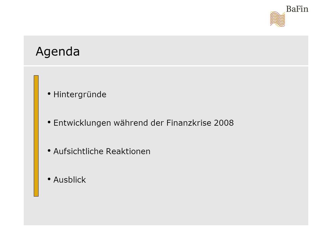 Agenda Hintergründe Entwicklungen während der Finanzkrise 2008 Aufsichtliche Reaktionen Ausblick