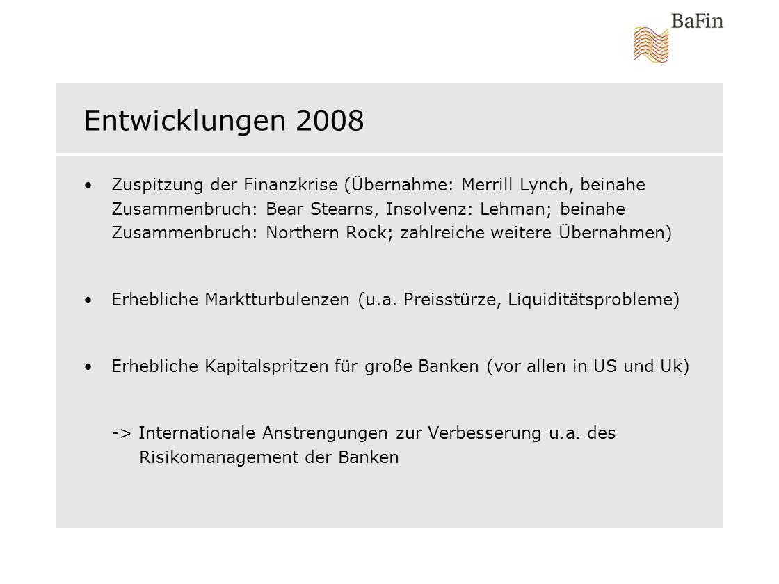 Entwicklungen 2008 Zuspitzung der Finanzkrise (Übernahme: Merrill Lynch, beinahe Zusammenbruch: Bear Stearns, Insolvenz: Lehman; beinahe Zusammenbruch: Northern Rock; zahlreiche weitere Übernahmen) Erhebliche Marktturbulenzen (u.a.