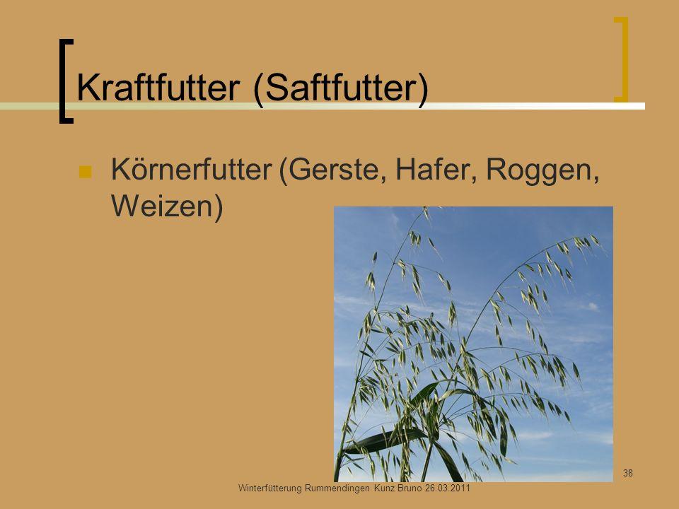 Kraftfutter (Saftfutter) Körnerfutter (Gerste, Hafer, Roggen, Weizen) Winterfütterung Rummendingen Kunz Bruno 26.03.2011 38