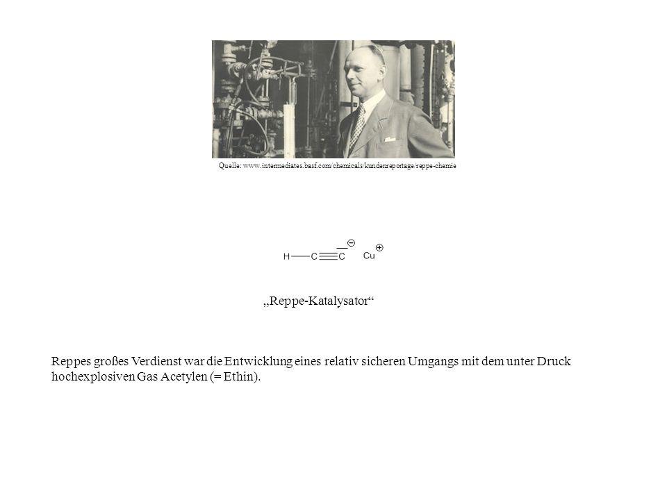 Quelle: www.intermediates.basf.com/chemicals/kundenreportage/reppe-chemie Reppe-Katalysator Reppes großes Verdienst war die Entwicklung eines relativ