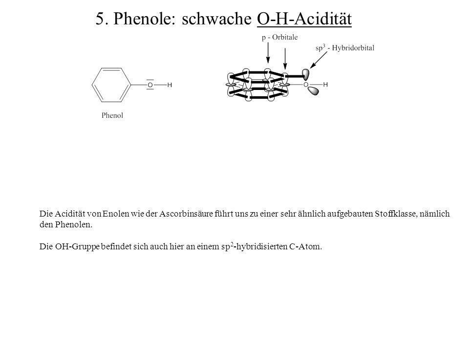 Die Acidität von Enolen wie der Ascorbinsäure führt uns zu einer sehr ähnlich aufgebauten Stoffklasse, nämlich den Phenolen. Die OH-Gruppe befindet si