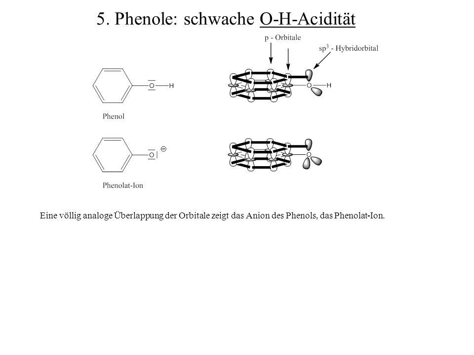 Eine völlig analoge Überlappung der Orbitale zeigt das Anion des Phenols, das Phenolat-Ion. 5. Phenole: schwache O-H-Acidität