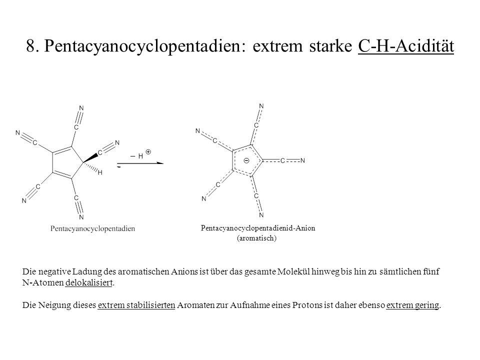 H _ Die negative Ladung des aromatischen Anions ist über das gesamte Molekül hinweg bis hin zu sämtlichen fünf N-Atomen delokalisiert. Die Neigung die