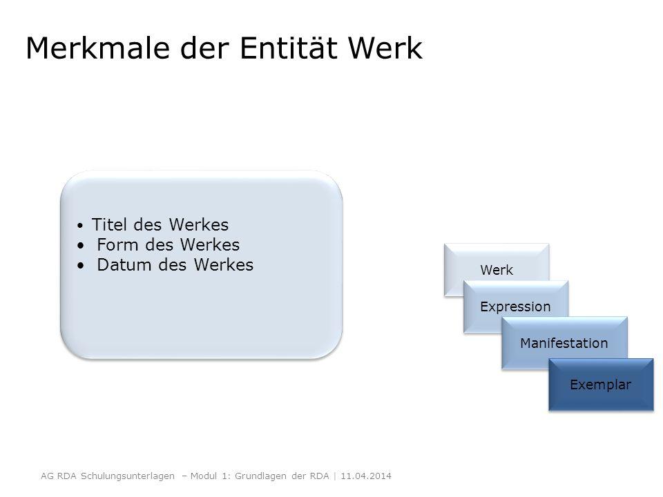 Merkmale der Entität Werk Werk Expression Manifestation Exemplar AG RDA Schulungsunterlagen – Modul 1: Grundlagen der RDA | 11.04.2014 Titel des Werke