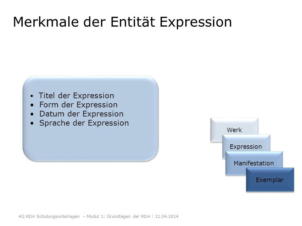 Merkmale der Entität Expression AG RDA Schulungsunterlagen – Modul 1: Grundlagen der RDA | 11.04.2014 Werk Expression Manifestation Exemplar Titel der