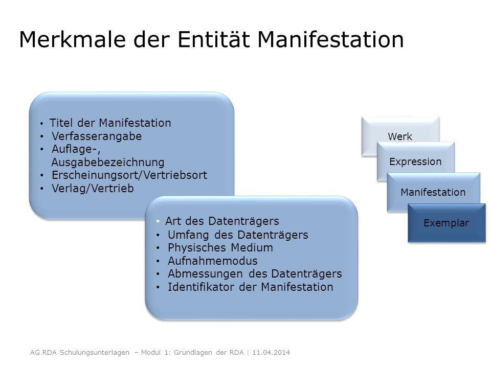 Merkmale der Entität Manifestation Titel der Manifestation Verfasserangabe Auflage-, Ausgabebezeichnung Erscheinungsort/Vertriebsort Verlag/Vertrieb T