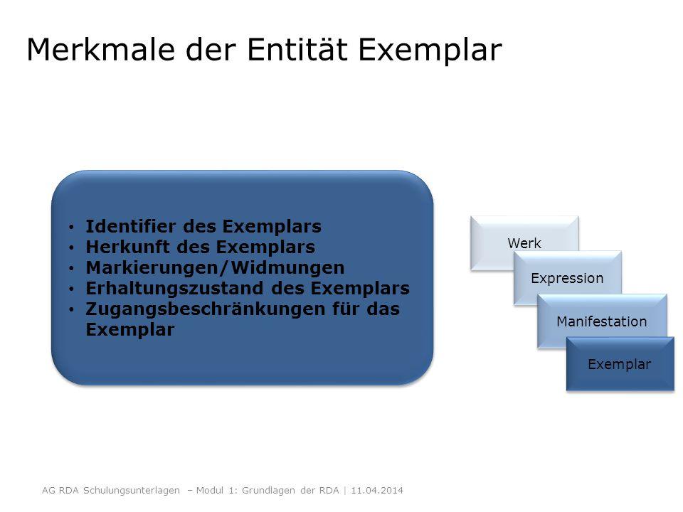 Merkmale der Entität Exemplar Identifier des Exemplars Herkunft des Exemplars Markierungen/Widmungen Erhaltungszustand des Exemplars Zugangsbeschränku