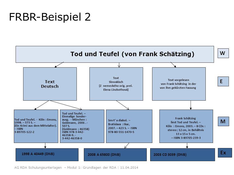Tod und Teufel (von Frank Schätzing) 1998 A 40449 (DNB) Text Deutsch E W FRBR-Beispiel 2 Frank Schätzing liest Tod und Teufel. – Köln : Emons, 2003. –